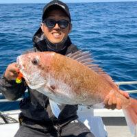タイラバ 釣果|タイラバJET オレンジイエロー で 真鯛 GET!